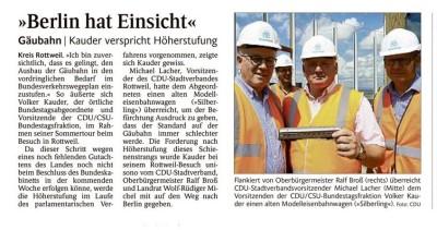 Volker Kauder verspricht mal wieder vollmundig Ausbau der Gäubahn