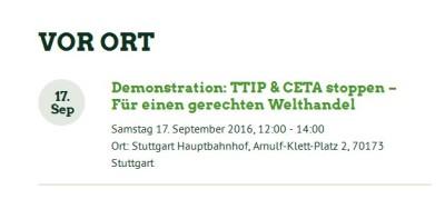 Wir demonstrieren gegen TTIP und CETA!