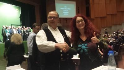 Sonja Rajsp und Hubert Nowack auf dem Grünen Parteitag in Schwäbisch Gmünd